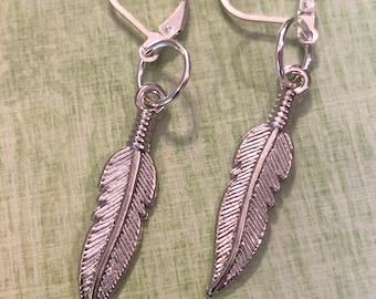 Silver Metal Feather Earrings