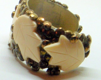 Vintage Brutalist Bracelet - Brass Cuff With Carved Leaves - Copper - Wide - 1970's - 6-7 Inch Wrist