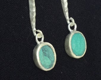 Sterling silver turquoise earrings 925 silver dainty natural stone drop earrings bridesmaids gift gift for her simplicity gift for mom