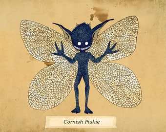 Cornish Piskie A4 Print