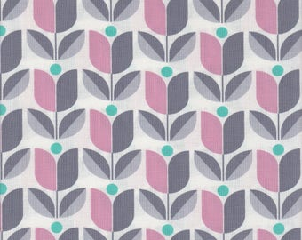 True Colors collection by Joel Dewberry - Free Spirit - Pattern Tulip, Color Gray and pink on white