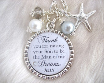 MOTHER of the GROOM Gift,Wedding Jewelry Thank you for raising the Man of my Dreams pendant necklace Beach Jewelry Bottle cap Thank you Gift