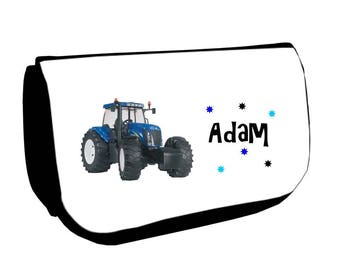 Cosmetic case Black /crayons blue tractor personalized with name