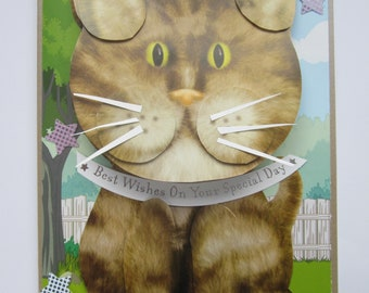 Large wobbler tabby cat card.   Best wishes on your special day