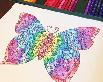 Coloring Page download, Butterfly coloring page, adult coloring page, Kids coloring page download, Printable coloring page