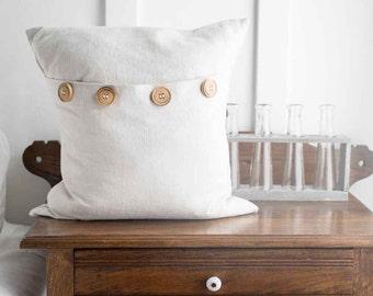 Farmhouse Linen Grain-Sack- Wood-Button  -16 x 16 inch -pillow cover tan