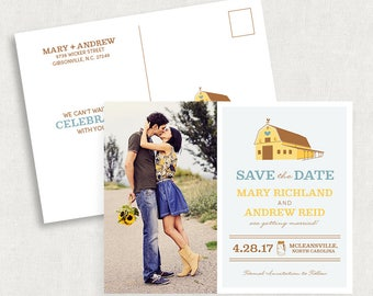 Barn Save the Date Postcards, Rustic Save the Date Postcards, Country Wedding Save the Dates, Blue and Yellow Save the Dates, Printed Cards