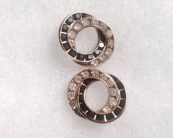 "Vintage! Clear & black rhinestone interlocking circles pierced earrings 3/4"" x 5/8"" nice!"