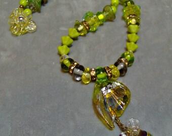 Lampwork Metallic Butterfly Wing and Honey Bee-Artisan Lampwork Beads-Lampwork Beads-Artisan Jewelry-Artisan Necklace-Art Beads - SRAJD
