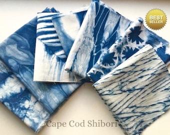 Indigo Shibori Fabric Sampler/ Indigo Dyed Fabric Bundle/ Wabi Sabi Design/ Gift For Sewer