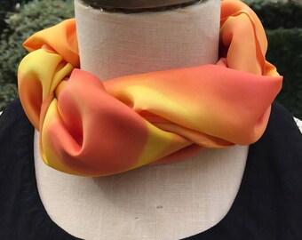Orange and Yellow Silk Scarf- Swirls