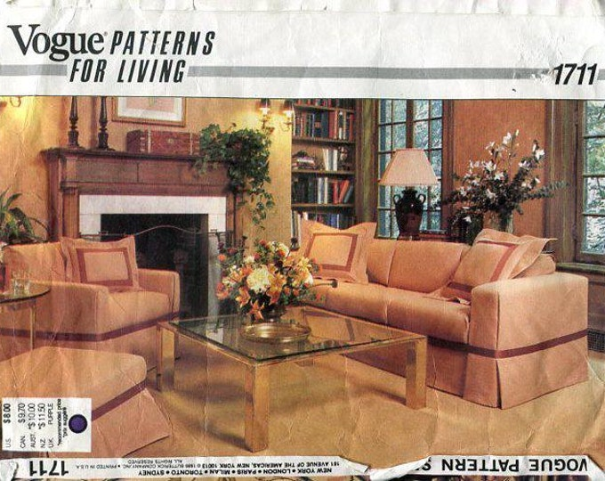 Free Us Ship Vogue Pattern 1711 Furniture Slipcovers Uncut Home OOP Sewing Pattern Out of Print
