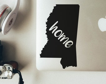 Mississippi State Decal, Mississippi Home Decal, Mac book Sticker, Laptop Sticker, Car Window Decal, Mississippi Outline Decal