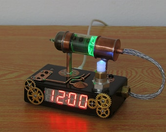 Steampunk style digital clock with vacuum tube multicolor light