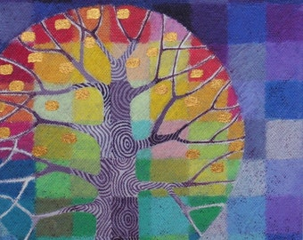 Tiny Test Pattern Tree 4 print, with hand painted details