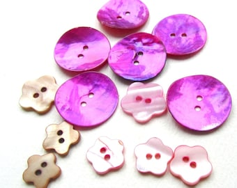 Shell Buttons Destash Round Floral Mother-of-Pearl Magenta Pink Brown