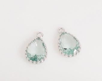Erinite Glass Pendant (Small), Jewelry Supplies, Polished Rhodium Plated over Brass - 2 Pieces-[BGP0019]-ERINITE/PR