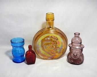 4 Wheaton Glass Bottles-Jars Abraham Lincoln-Masted Sailing Ship-Horseshoe-Pocahontas Instant Collection