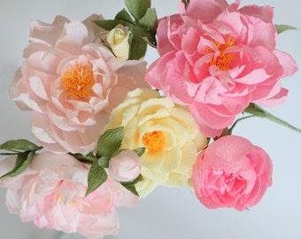 wedding peonies paper roses paper flowers paper flower bouquet wedding flowers bouquet reception decor wedding decor pink peonies paper rose