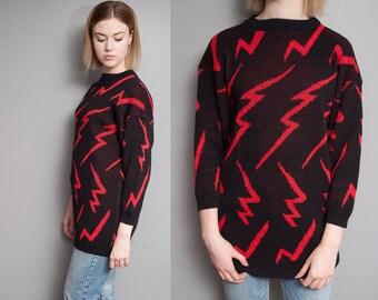Vintage 1980's I Blk & Red I Lightning Bolt I New Wave I Pullover Sweater I S