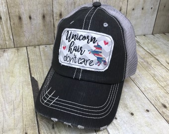Unicorn Hair Don't Care Distressed Black and Grey Baseball Trucker Hat Baseball Cap