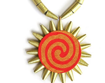 Makar Sankranti necklace • Sun pendant necklace • Red and gold necklace • Indian folk jewelry • 1st anniversary gift for Indian wife • Paper