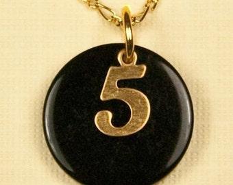 Vintage Black Celluloid Number 5 Necklace (request any number)