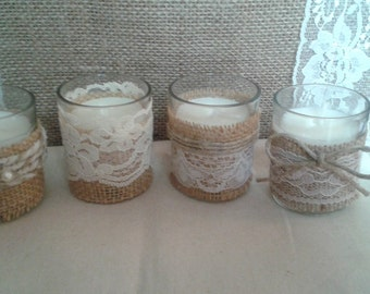 Twine, lace and burlap tea candles for wedding