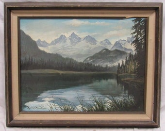 Old Vintage Mountain Lake Landscape Acrylic by Moorehouse