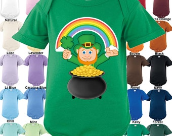Leprechaun Shamrock Pot of Gold rainbow Bodysuit - Boys / Girls / Irish / St. Patrick's day
