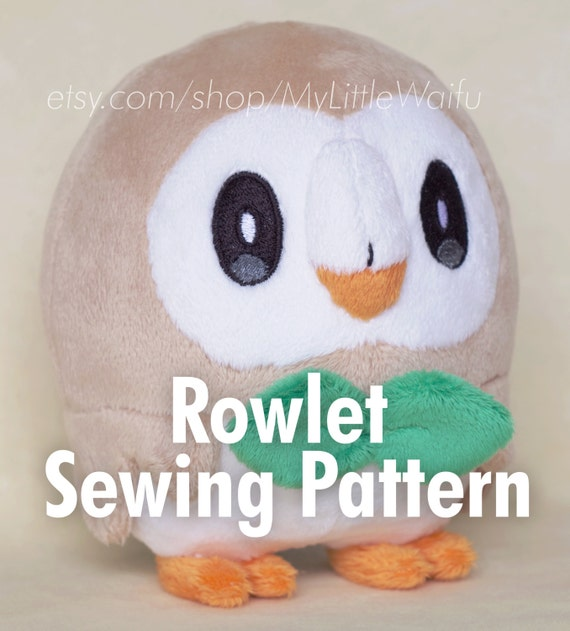DIY Rowlet Plush Sewing Pattern Eye Embroidery Files
