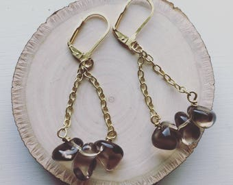 KRI | CLASSIC Smokey Quartz and gold fill or sterling silver earrings
