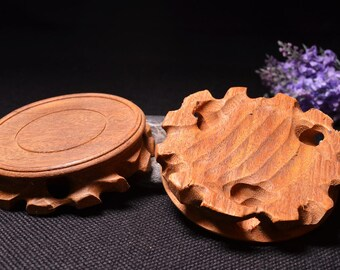 Hand Carved Round Wooden Stand/Handmade wood stand
