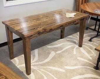 Narrow Farmhouse Table   Solid Wood Narrow Farmhouse Dining Table   Kitchen  Table   Wooden Desk