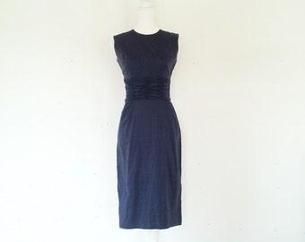 1960s Navy Blue Sheath Dress 60s Vintage Mod Dark Blue Cotton Shift Dress Small Pencil Skirt Shelf Bust 50s Bombshell Day Dress Wiggle Dress
