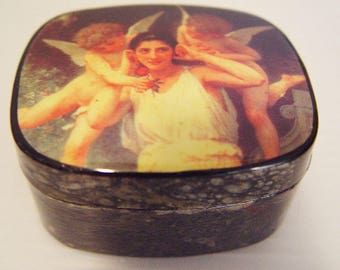 Angel Box-Renaissance Painting-Lacquered Oval- Jewelry Box- Curio