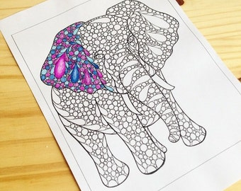 Coloring Page Elephant Zentangle Inspired Printable Zendoodle Page 44