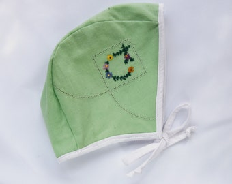 Baby Bonnet 18- 24 months, handmade, Eco friendly, up cycled bonnet