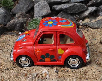 VW Beetle, Color Options: Red for Miniature Garden, Fairy Garden