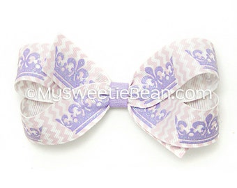 """Purple Tiara Bow, 4 inch Boutique Bow, Sparkly Chevron Bow, Glitter Tiara Bow for Little Girls, 4"""" Hair Bow, Glitter Bow for Baby, Toddlers"""