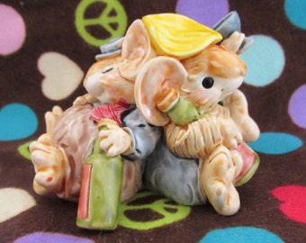Adorable Vintage Little Cheesers Mouse by Ganz-Happy Little Drunk Mice