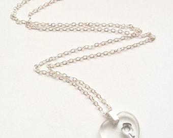 Czech Glass Heart Necklace - Clear Glass Heart Necklace - Valentine Necklace - Heart Necklace - Heart Jewelry