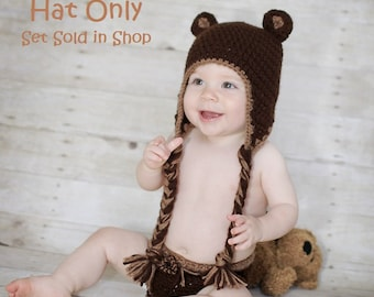 Teddy Bear Earflap Hat-Made to Order-Any Size-HAT ONLY