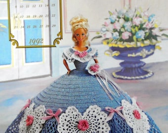 Barbie doll crochet pattern gown dress wardrobe wedding souther victorian vintage annie's attic original febuary collection