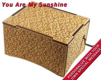 """Deluxe Music Box w/Velvet Tray, """"You Are My Sunshine"""", Laser Engraved, Hand Crank Movement"""