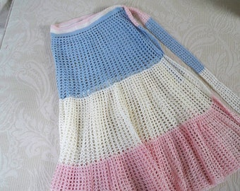 Vintage Apron Crochet Apron Blue, White and Pink