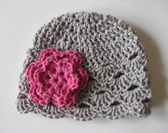 Baby Girl Hat, Crochet Newborn Hat, Newborn Beanie, Baby Girl Beanie, Newborn Baby Hat, Newborn Prop, Baby Newborn Hat, Grey Pink