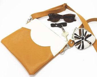 Vegan Bag, Mustard Leather Bag, Vegan Leather, Cross Body Purse, Zipper Bag, Vegan Leather Crossbody Bag,