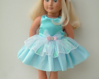 Our Generation American Girl Design a friend blue shimmer doll party dress handmade 18 inch doll clothes