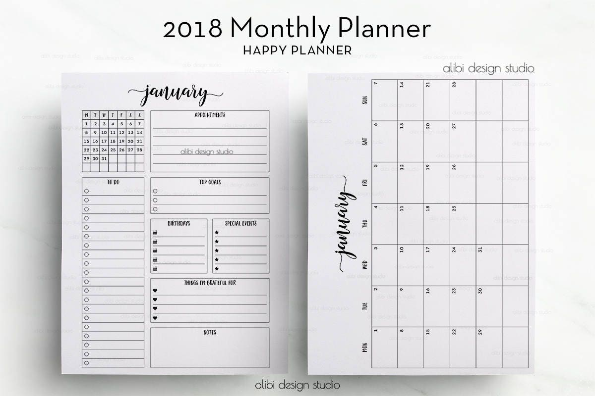 Happy Planner Calendar Printables : Monthly planner happy month at a glance